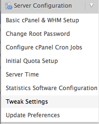 Tweak Settings Menu Option in WHM